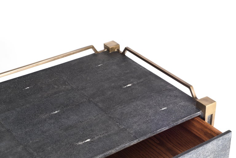 Contemporary Soho Writing Desk in Brown Shagreen and Bronze-Patina Brass by R&Y Augousti For Sale