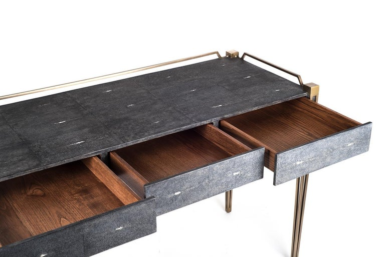 Soho Writing Desk in Brown Shagreen and Bronze-Patina Brass by R&Y Augousti For Sale 1