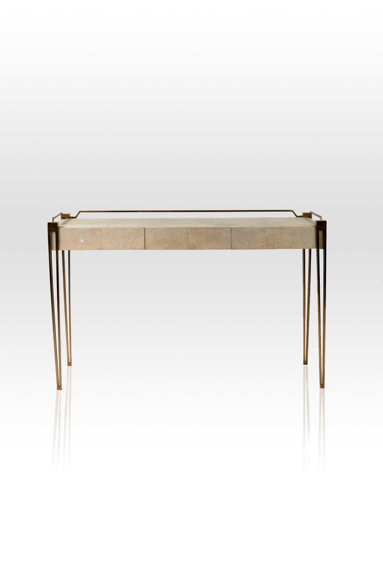 Soho Writing Desk in Brown Shagreen and Bronze-Patina Brass by R&Y Augousti For Sale 2