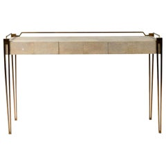 Soho Writing Desk in Cream Shagreen and Bronze-Patina Brass by R & Y Augousti
