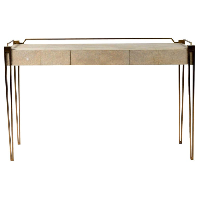 Soho Writing Desk in Cream Shagreen and Bronze-Patina Brass by R & Y Augousti For Sale