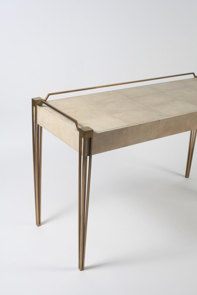 Art Deco Soho Writing Desk in Cream Shagreen and Bronze-Patina Brass by R & Y Augousti For Sale