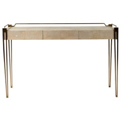 Soho Writing Desk in Cream Shagreen and Bronze-Patina Brass by R&Y Augousti