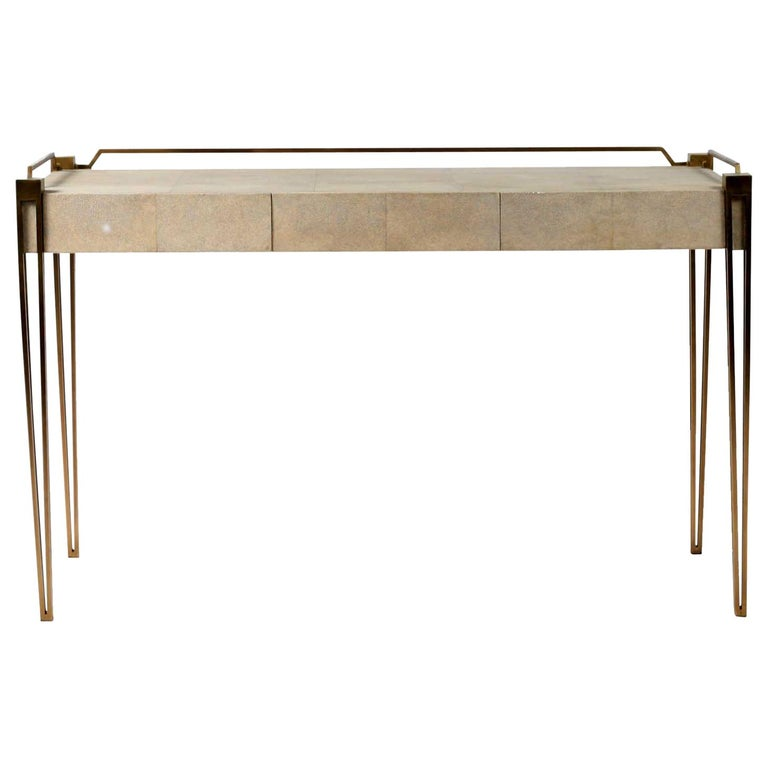 Soho Writing Desk in Cream Shagreen and Bronze-Patina Brass by R&Y Augousti For Sale