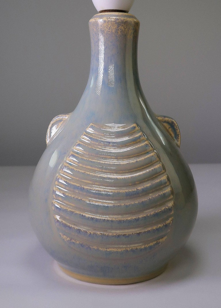 Glazed Soholm Danish Mid-Century Modern Sage Green, Blue Relief Stoneware Lamp, 1960s For Sale