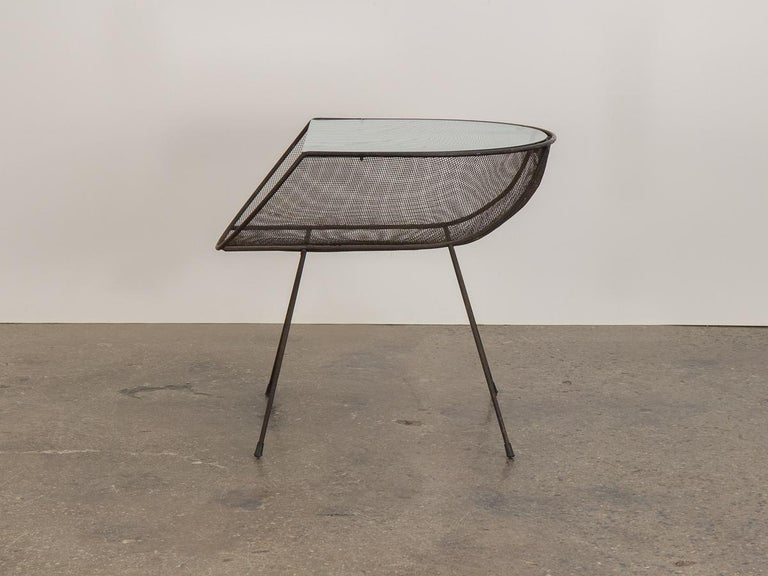 Mid-Century Modern Sol Bloom Metal with Glass Side Table For Sale