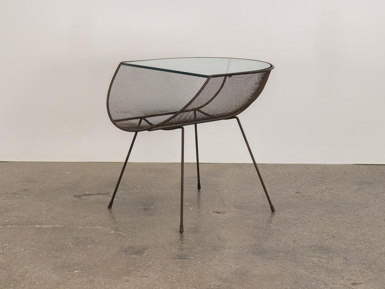 American Sol Bloom Metal with Glass Side Table For Sale