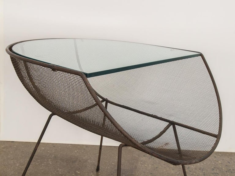 Sol Bloom Metal with Glass Side Table In Fair Condition For Sale In Brooklyn, NY