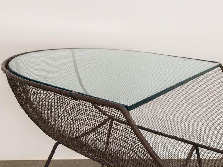 Mid-20th Century Sol Bloom Metal with Glass Side Table For Sale