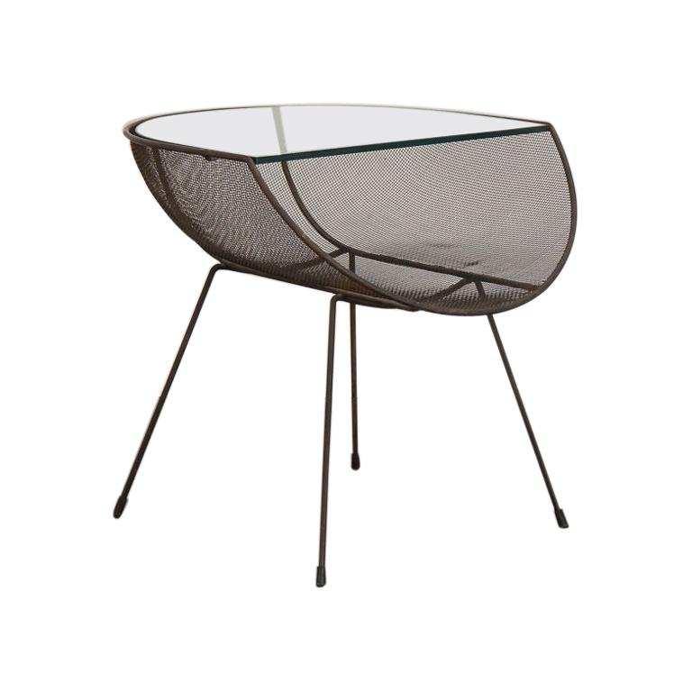 Sol Bloom Metal with Glass Side Table For Sale