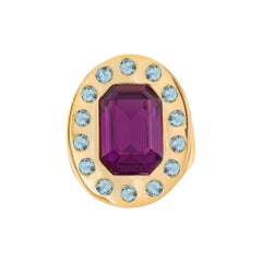 Sol Chevalier gold plated purple and light blue stones ring NWOT