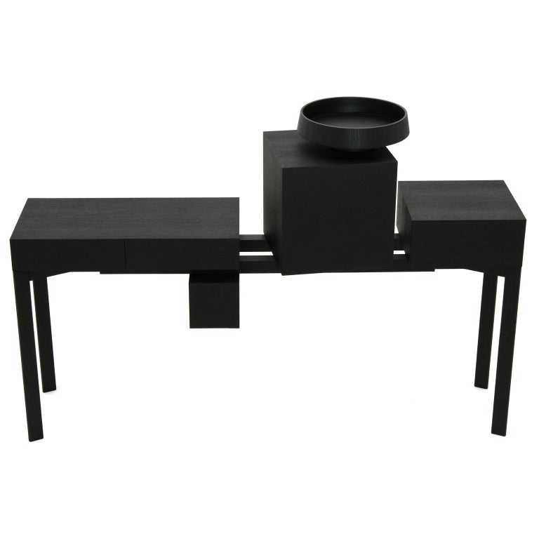 SOL Contemporary Sideboard or Cabinet in Oak Wood and Metal For Sale