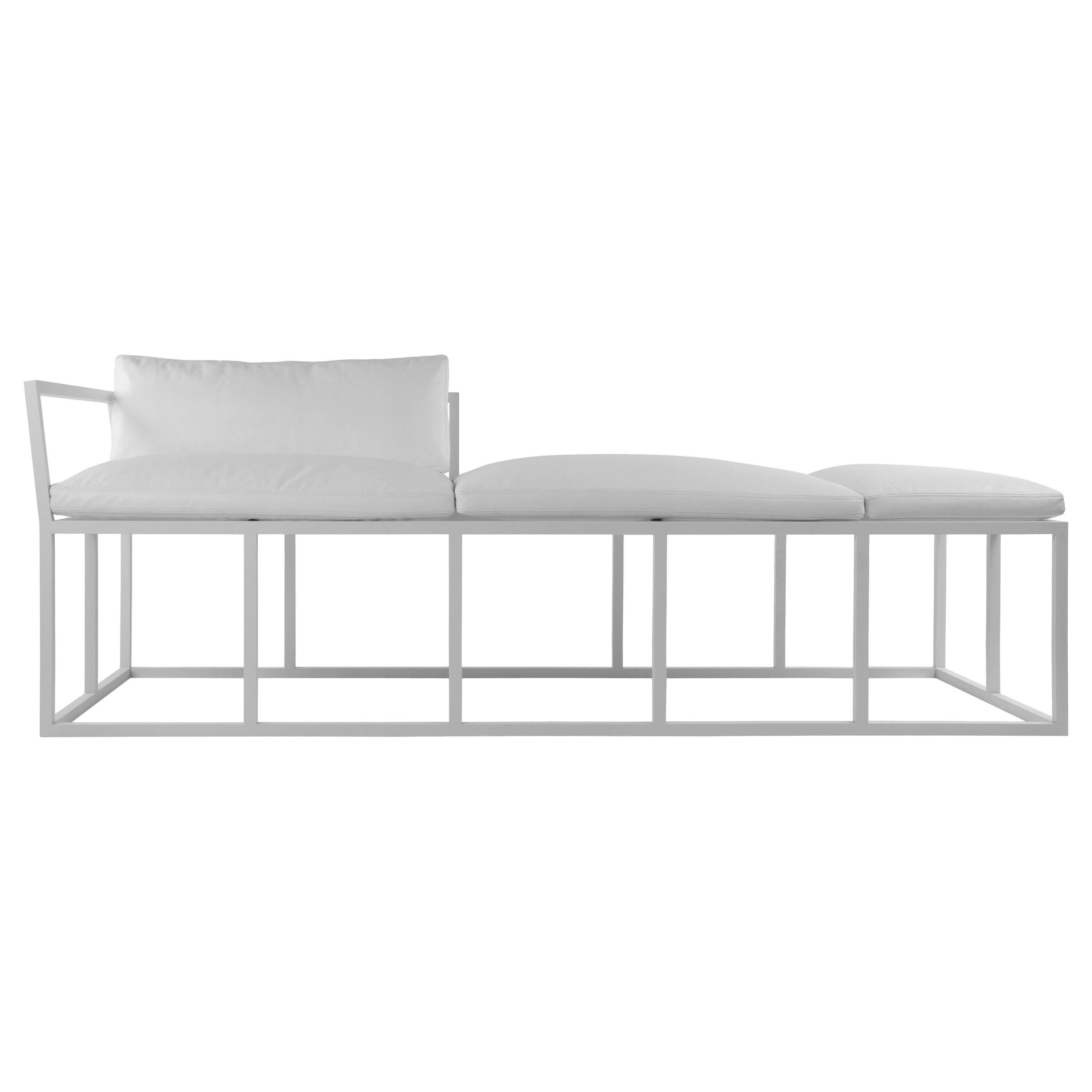 Sol daybed in coated aluminum and spinneybeck leather by jonathan nesci for sale at 1stdibs