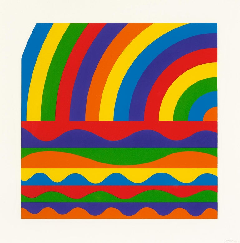 Arcs and Bands in Color - Contemporary Art, Linocut, Minimalism, Conceptual art  - Print by Sol LeWitt
