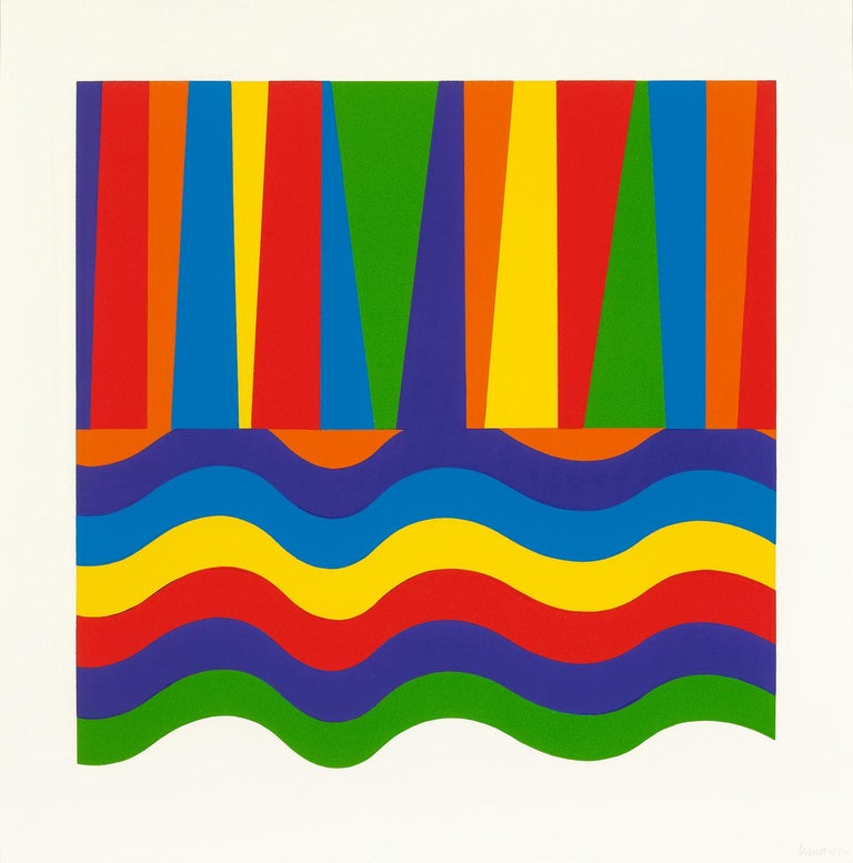 Arcs and Bands in Color - Contemporary Art, Linocut, Minimalism, Conceptual art  - Minimalist Print by Sol LeWitt