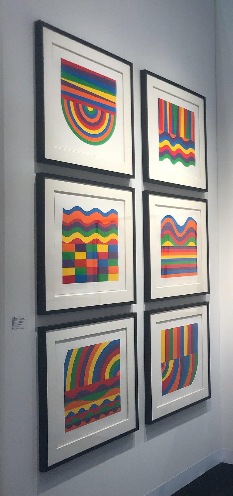 Arcs and Bands in Color - Contemporary Art, Linocut, Minimalism, Conceptual art  - Blue Abstract Print by Sol LeWitt