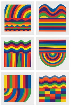 Arcs and Bands in Color - linocut minimalism conceptual art contemporary art