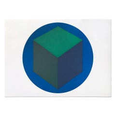 Centered Cube within a Blue Circle, 1988, Minimalism, Abstract Geometric