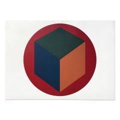 Centered Cube within a Red Circle, 1988, Minimalism, Abstract Geometric
