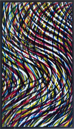 Wavy Lines (Color) - Print, Abstract art, Minimalism, Contemporary art, Woodcut