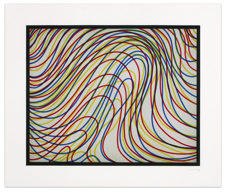 Wavy Lines with Black Border - Print by Sol LeWitt
