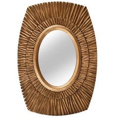 Sol Mirror by DeMuro Das with Hand-Carved Wooden Frame with Antique Gilding