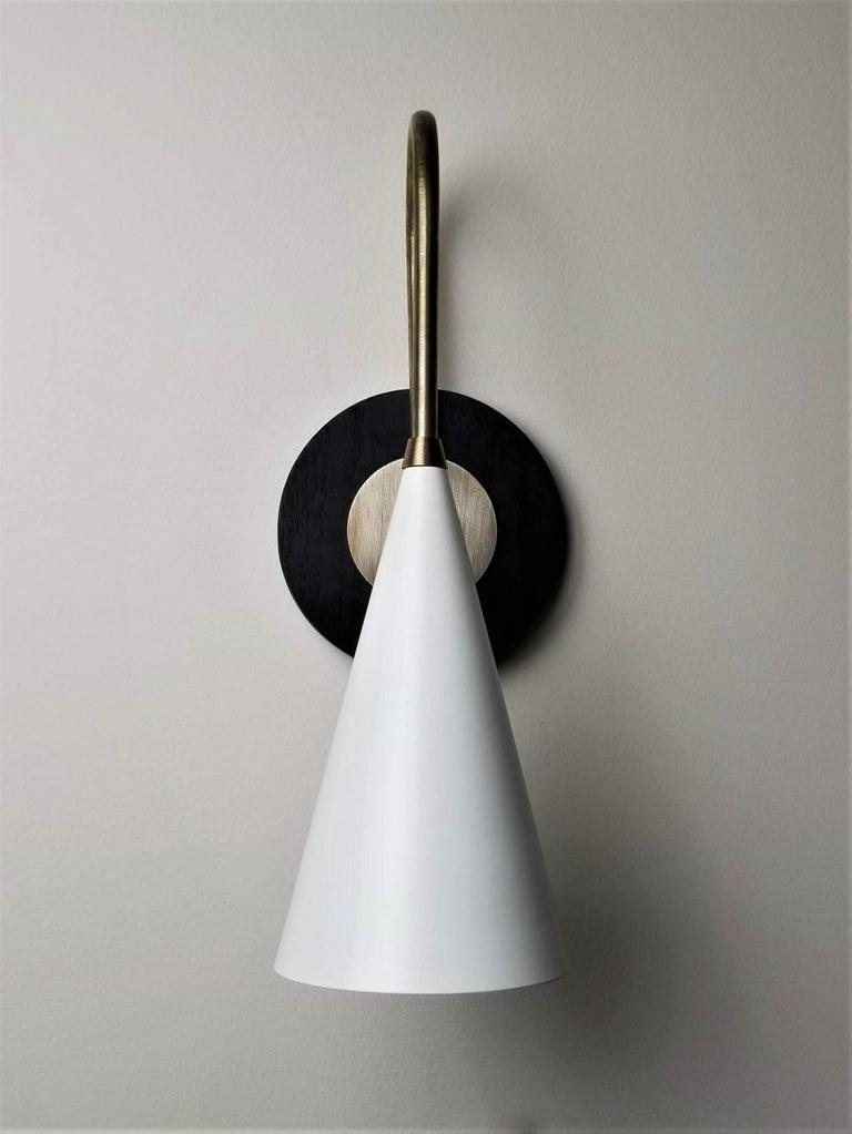 American 'Solana' Wall Mount Lamp in Ebonized Walnut, Brass and Enamel Blueprint Lighting For Sale
