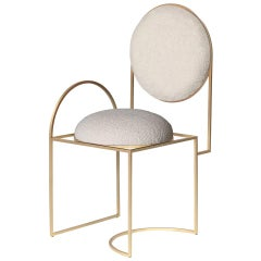 Solar Chair, Cream Boucle Wool Fabric and Brushed Brass Frame, by Lara Bohinc