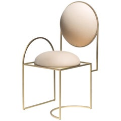 Solar Chair, Cream Wool and Brass Coated Metal Frame, by Lara Bohinc