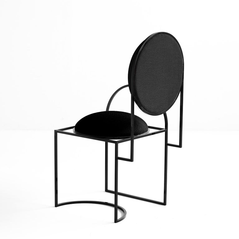 Modern Solar Chair in Black Wool and Coated Steel, by Lara Bohinc For Sale