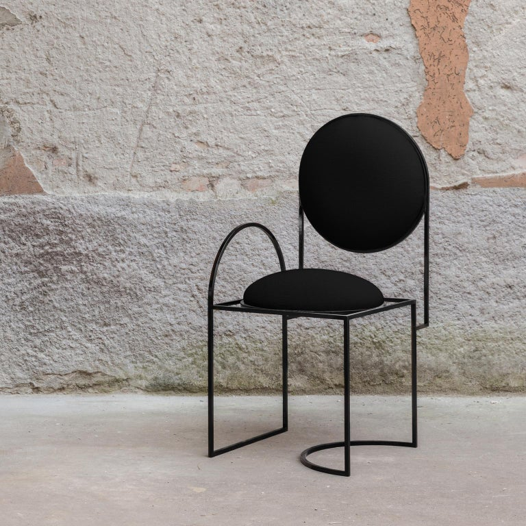 Metalwork Solar Chair in Black Wool and Coated Steel, by Lara Bohinc For Sale