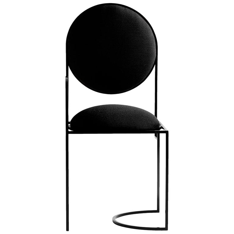 Solar Chair in Black Wool and Coated Steel, by Lara Bohinc For Sale
