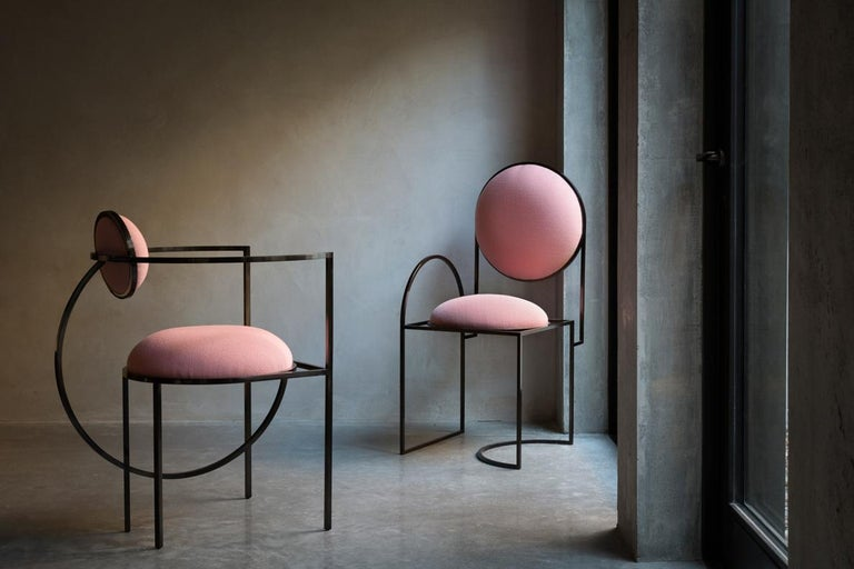 Solar Chair in Pink Wool and Coated Steel, by Lara Bohinc For Sale 2