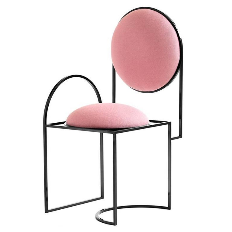 Solar Chair in Pink Wool and Coated Steel, by Lara Bohinc For Sale
