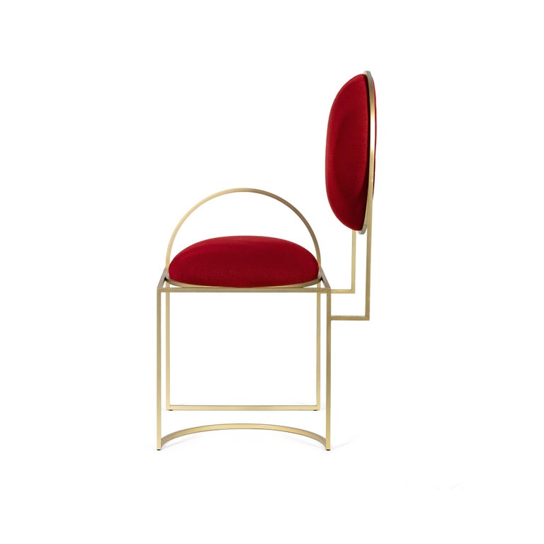 Modern Solar Chair in Red Fabric and Brass Coated Metal by Lara Bohinc, in Stock For Sale