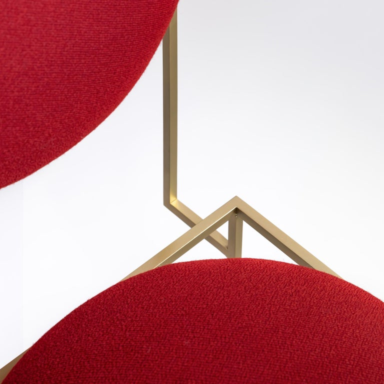 British Solar Chair in Red Fabric and Brass Coated Metal by Lara Bohinc, in Stock For Sale