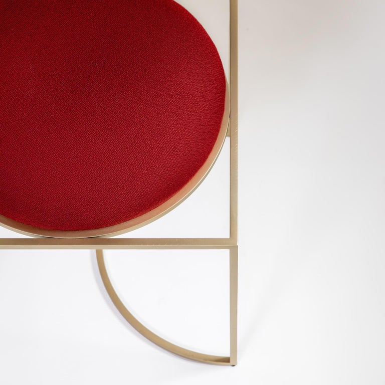Metalwork Solar Chair in Red Fabric and Brass Coated Metal by Lara Bohinc, in Stock For Sale
