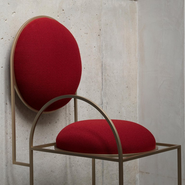 Solar Chair in Red Fabric and Brass Coated Metal by Lara Bohinc, in Stock In New Condition For Sale In London, GB