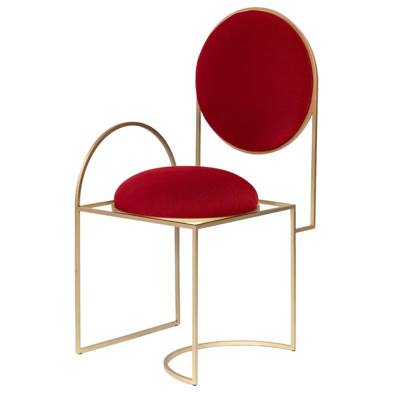 Solar Chair in Red Fabric and Brass Coated Metal by Lara Bohinc, in Stock For Sale