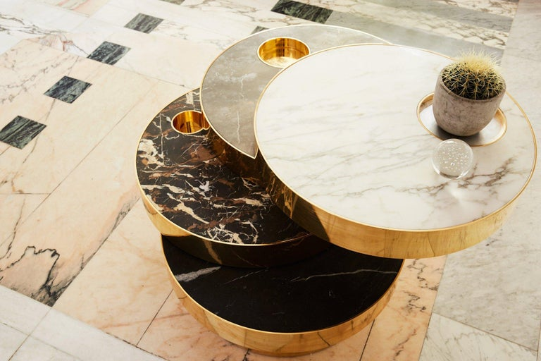 British Solaris Kinetic Marble and Brass Coffee Table For Sale
