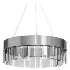 Solaris Satin Stainless Steel Cut Glass Pendant