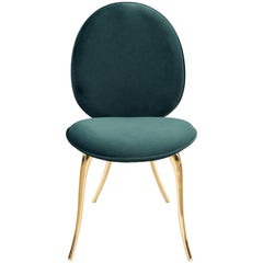 Soleil Dining Chair in Green with Polished Brass Legs by Boca do Lobo