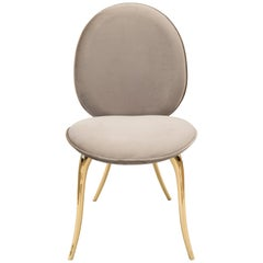 Soleil Dining Chair with Polished Casted Brass and Fabric