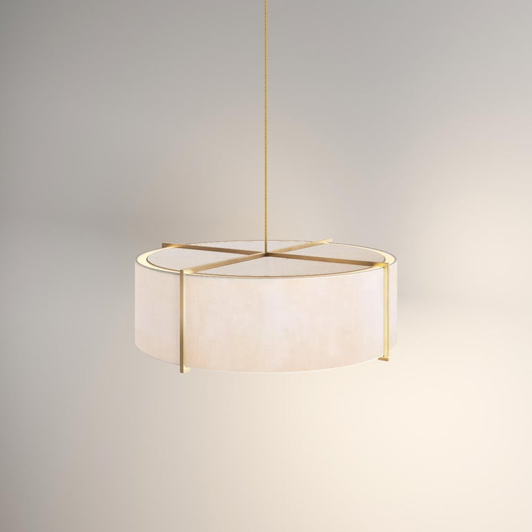 Organic Modern Soleil Pendant, Raw White Silk and Brushed Brass Light, Contemporary Chandelier For Sale