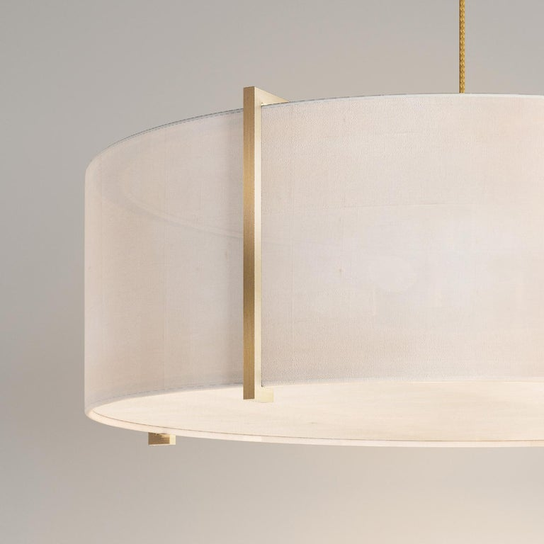 British Soleil Pendant, Raw White Silk and Brushed Brass Light, Contemporary Chandelier For Sale