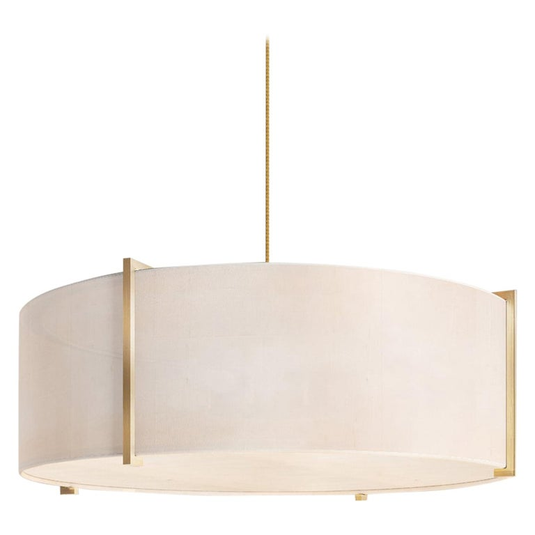 Soleil Pendant, Raw White Silk and Brushed Brass Light, Contemporary Chandelier For Sale