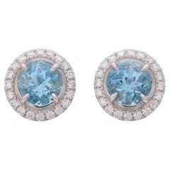 Soleste Aquamarine & Diamond Studs by Tiffany & Co.