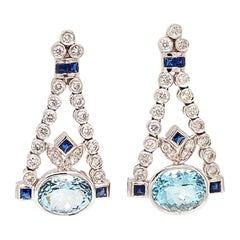 Solid 14 Karat Gold Genuine Aquamarine, Sapphire and Diamond Chandelier Earrings