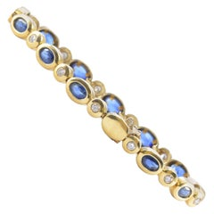 Solid 14 Karat Gold Genuine Sapphire and Natural Diamond Tennis Bracelet 14.1g