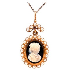 Solid 14 Karat Rose Gold Cameo Pendant with Onyx and Pearl 7.1g